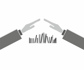 Books with hands