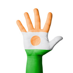 Open hand raised, Niger flag painted