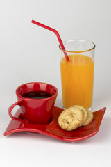 Coffee,oatmeal biscuits and nectarine juice