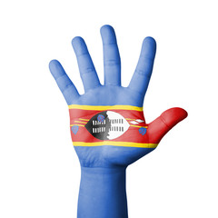 Open hand raised, Swaziland flag painted