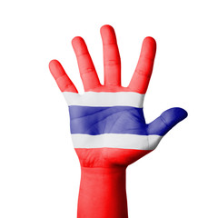 Open hand raised, Thailand flag painted