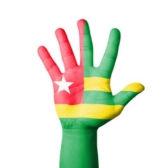 Open hand raised, Togo flag painted