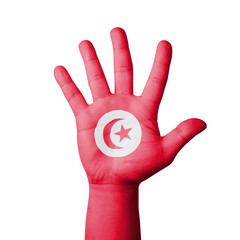 Open hand raised, Tunisia flag painted