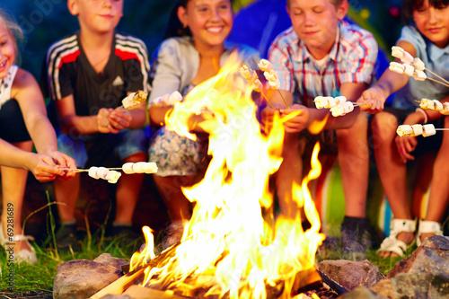 Leinwanddruck Bild happy kids roasting marshmallows on campfire