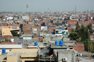 rooftop view of Lahore, big city in Pakistan