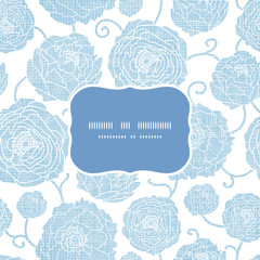 Blue textile peony flowers frame seamless pattern background