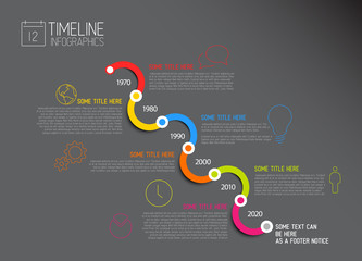Dark Infographic diagonal timeline report template