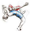 Leinwanddruck Bild - Greco-Roman Wrestling. An full sized hand drawn illustration