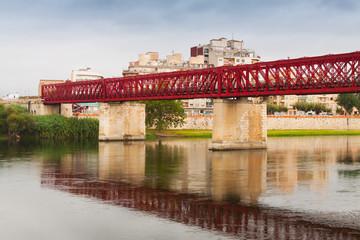 Footbridge over Ebre river in Tortosa