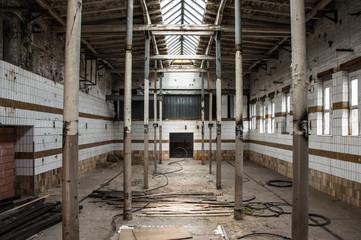 Inside an old slaughterhouse