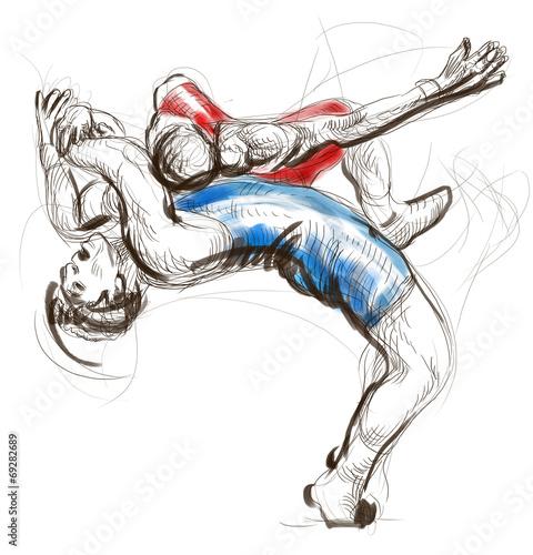 Leinwanddruck Bild Greco-Roman Wrestling. An full sized hand drawn illustration