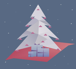 Christmas tree with presents - polygonal vector