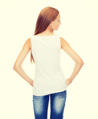 teenage girl in blank white shirt from the back