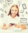 girl with smartphone at school