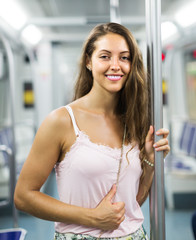 Girl passanger inside train