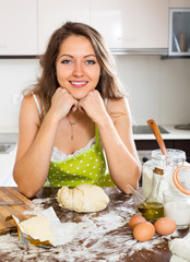portrait of  woman preparing dough