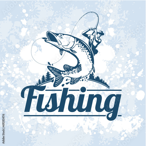 fishing vector labels - 69283476