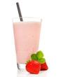 Leinwanddruck Bild - Milchshake mit Erdbeeren