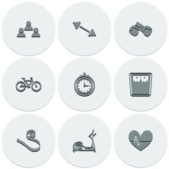 Set of light icons on round fitness. Fashionable flat design.