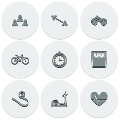 Set of light icons on round fitness. Fashionable flat design.