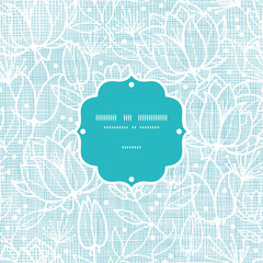 Blue lace flowers textile frame seamless pattern background