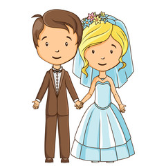 Cartoon style bride and groom holding hands