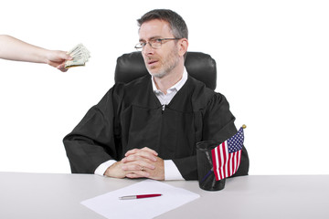 corrupt american judge taking money as a bribe or stealing