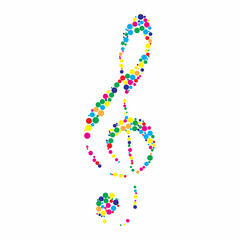 Illustration of a colorful clef