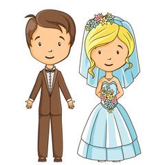 Cartoon style bride and groom