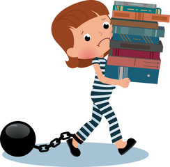 Girl schoolgirl prisoner with books in their hands