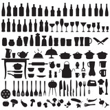Fototapety vector set silhouettes of kitchen tools, cooking icons