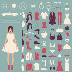 fashion vector icons, collection of woman accessories, clothes