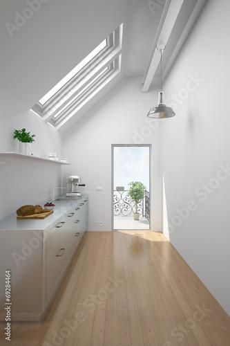 canvas print picture Dachgeschoss mit Küche und Balkon