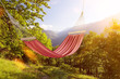canvas print picture - Hängematte im Sommer in den Alpen