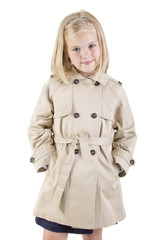 fashion girl in a coat smiling