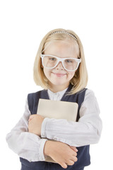 Girl schoolgirl holding book and smiling