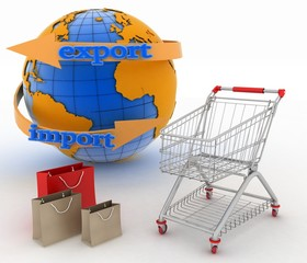 Shopping cart with a globe. Direction concept.