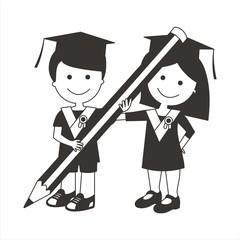 Niños graduados con lápiz BN
