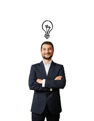 man with light bulb above the head