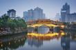 Chengdu, China On the Jin River and Anshun Bridge