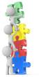 People Unite.The dude x 3 building puzzle diversity color tower.
