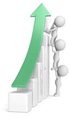 Growth.The dude x 3 helping increase bar diagram.Green arrow.