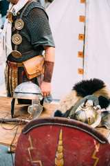 Roman army equipment on display