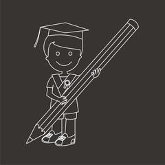 Niño graduado con lápiz líneas fondo oscuro