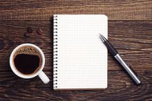 """Постер, картина, фотообои """"Cup of coffee and notepad"""""""