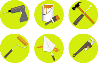Construction tools, set of flat icons