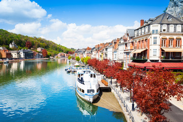 Beautiful view of Dinant cityscape on Meuse river