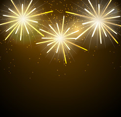 Glossy Fireworks Background Vector Illustration. EPS10
