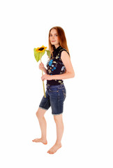 Standing girl with sunflower.