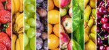 Fruit collage - Group of various fresh fruits poster